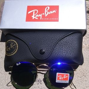Brand New Blue RayBan Metal Rounds 50mm Never Worn